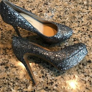 Gianni Bini Silver glitter sparkle heels-like new